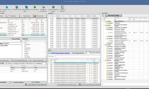 Captura de tela do novo Volare Software 21, onde são exibidas tabelas orçamentárias para controle de obras